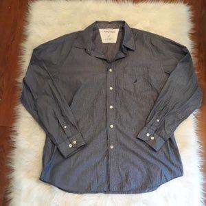 Nautica long sleeve blue pinstripe shirt XL